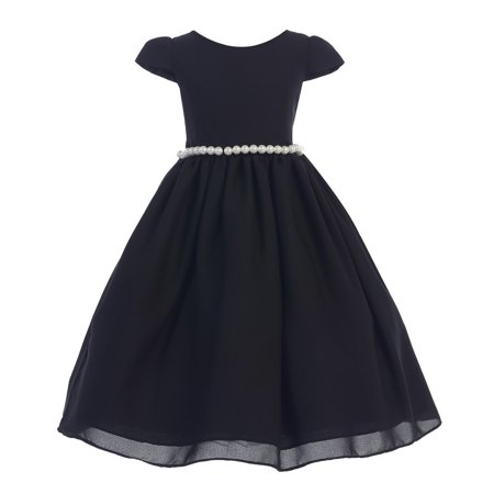Ellie Kids Girls Black Wool Dobby Pearl Junior Bridesmaid Dress 8 - Black Girl Dresses