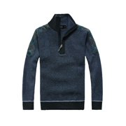 Men Pullover Stretch Long Sleeves Steel Blue Black Plaids Shirt L