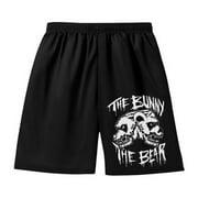 Bunny The Bear Men's  Skull Logo Gym Shorts Black
