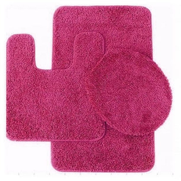 3 Pc Hot Pink Bathroom Set Bath Mat Rug Contour And Toilet Lid Cover With Rubber Backing Nbsp 6 Walmart Com Walmart Com