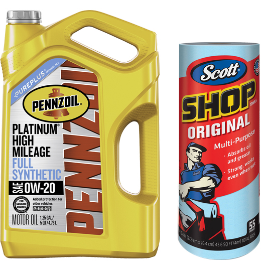 Pennzoil Platinum High Mileage 0W20 Motor Oil, 5 qt with Scott 'Original Blue' Shop Towels, (1 Roll of 55 sheets) Kimberly-Clark Bundle