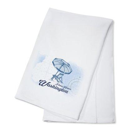 Friday Harbor, Washington - Beach Chair & Umbrella - Blue - Coastal Icon - Lantern Press Artwork (100% Cotton Kitchen