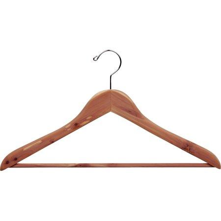 Cedar Wood Suit Hanger w/ Bar, Box of 24 Unfinished Curved Wooden Hangers w/ Chrome Swivel Hook for Jacket Coat Top & Shirt by International Hanger