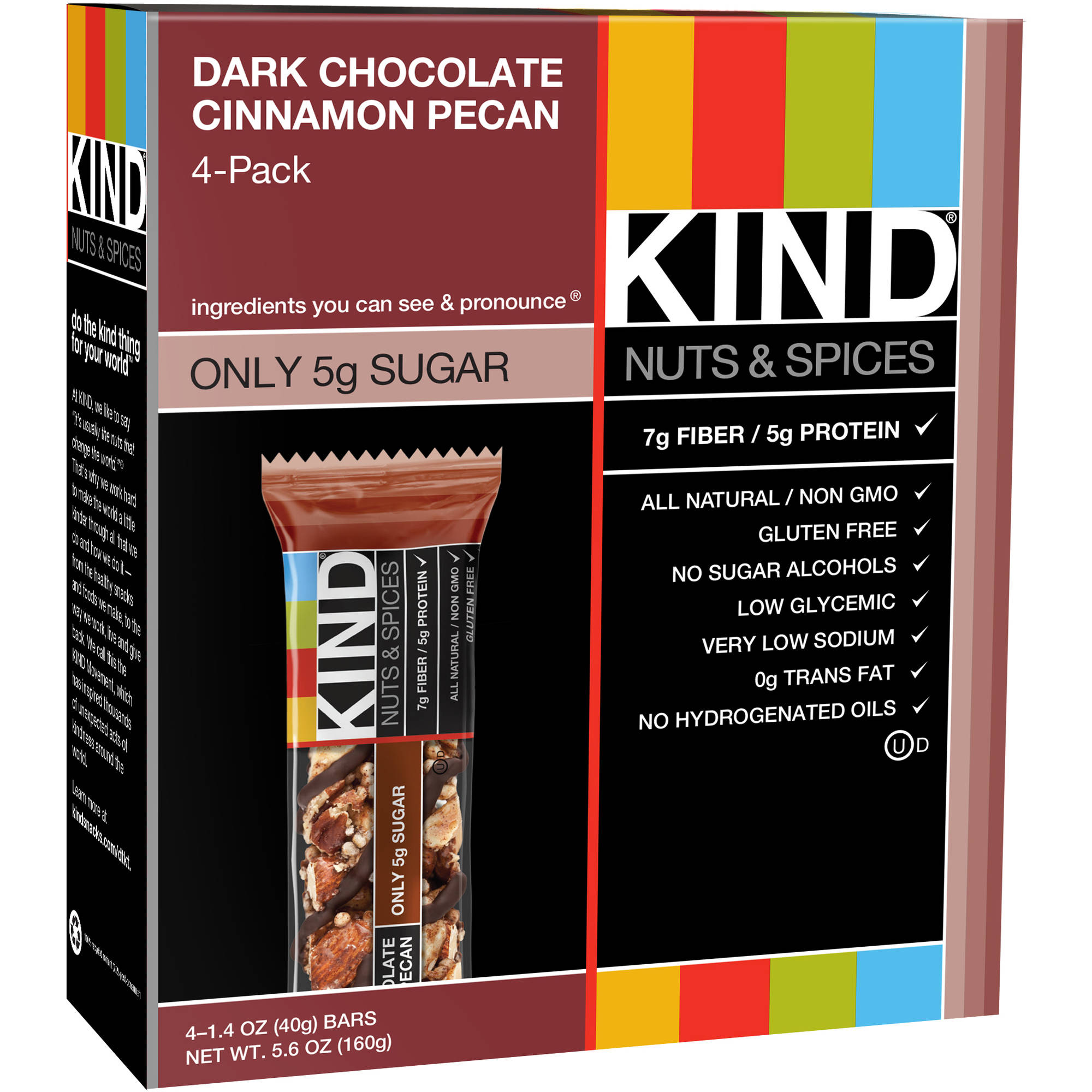 KIND Nuts & Spices Bars, Dark Chocolate Cinnamon Pecan, 1.4 Ounces, 4 Count