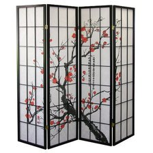 Legacy Decor Black 4-Panel Plum Blossom Screen Room Divider - Carpet Dividers