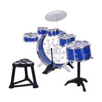 12-Piece Children's Jazz Drum Set  6 Drums Cymbal Computer Chair Kick Pedal