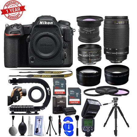 Nikon D500 DSLR Camera with - 15mm - Nikon 50mm f/1.8D - Nikon 70-300mm G - 128GB -AF Flash Bundle