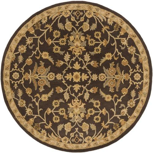 4' French Elegance Espresso, Gray and Gold Round Hand Tufted Wool Area Throw Rug