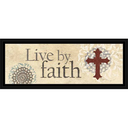 Live By Faith Traditional Cross Flower Medallion Religious Painting Tan & Red, Framed Canvas Art by Pied Piper Creative Bell Flower Finished Medallion