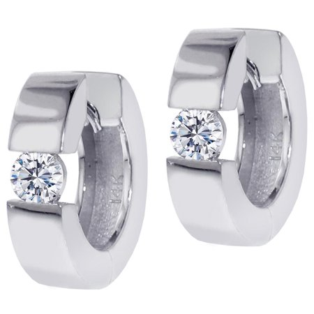 0.65 CT Large Diamond Hoops/Huggies in White Gold - 0.65 Ct Diamond Center