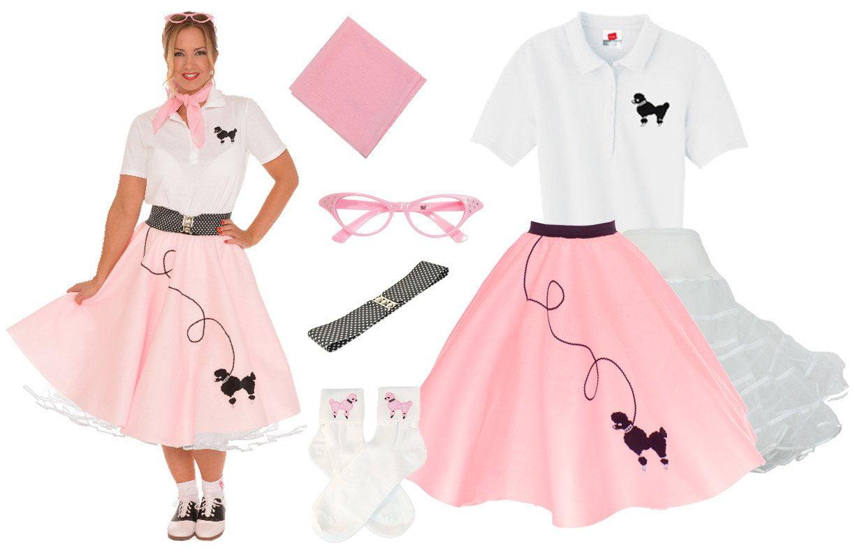 7d5bce253ed Plus Size 7 pc - 50 s Poodle Skirt Outfit - Light Pink   3X - Walmart.com