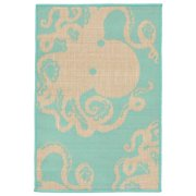 Liora Manne Terrace 1784/93 Octopus Turquoise Area Rug 7 Feet 10 Inches X 9 Feet 10 Inches
