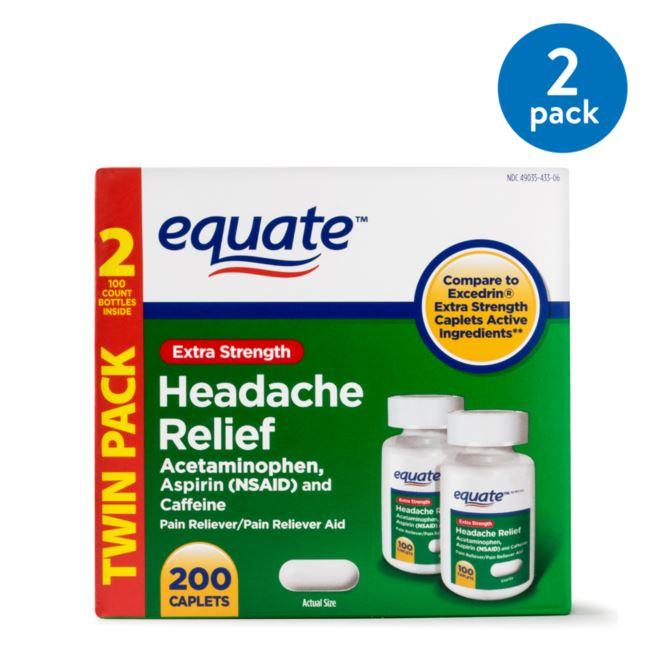 (2 Pack) Equate Extra Strength Headache Relief Caplets, 250 mg, 100 Ct, 2 Pk