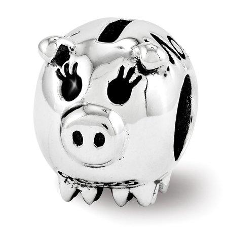(Lex & Lu Sterling Silver Reflections Fun Money Piggy Bank Bead)