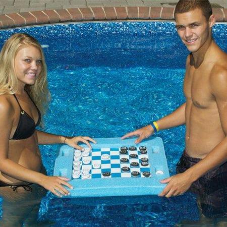 Swimline 91450 Swimming Pool Spa Floating Multi Game Gameboard Chess Board Game