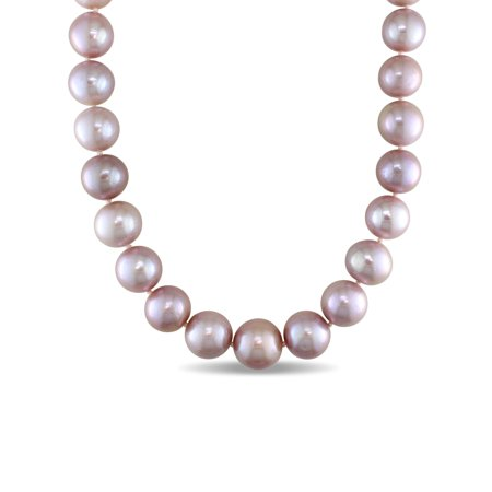 """Tangelo 14-16MM Pink Freshwater Cultured Pearl 14kt White Gold Graduated Strand Necklace, 18"""""""