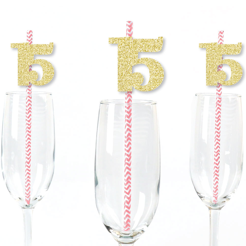 Gold Glitter 15 Party Straws - No-Mess Real Gold Glitter Cut-Out Numbers & Decorative 15th Birthday Paper Straws - 24 Ct