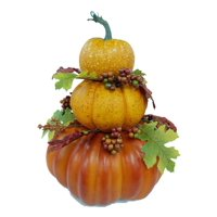 Way to Celebrate Thanksgiving Fall Farmhouse Pumpkin Stack Decoration (14.4 in), Multiple Colors