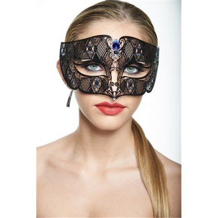 Black Luxury Roman Guard Filigree Laser Cut Metal Mask with Blue Rhinestones - One Size