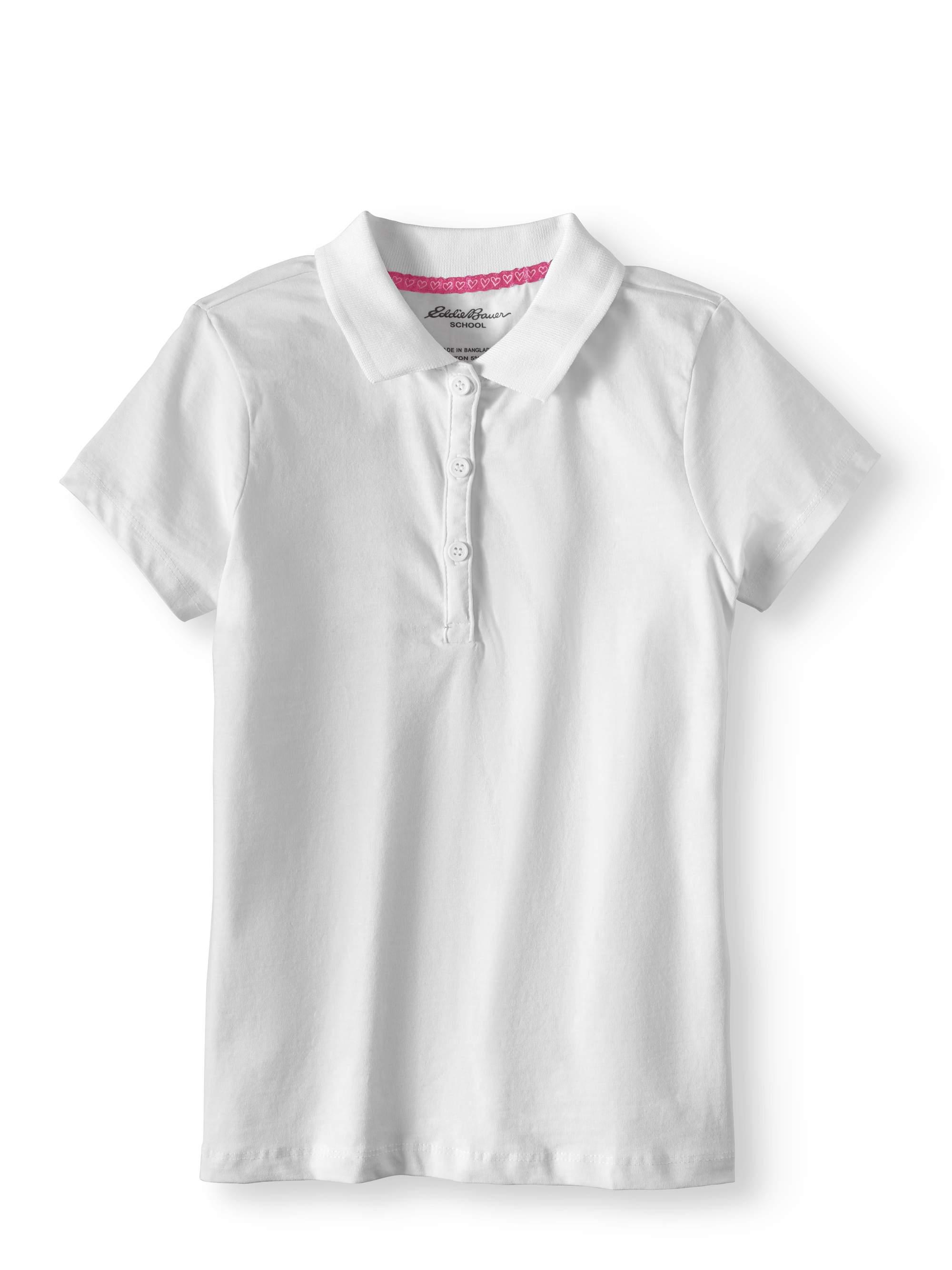 Girls School Uniform Short Sleeve Stretch Knit Polo Shirt