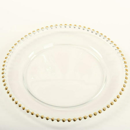 Koyal Wholesale Clear Glass Gold Beaded Couture Charger Plate, - Gold Plate Chargers