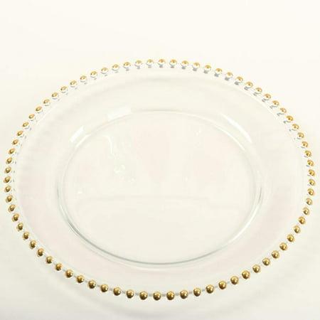 Koyal Wholesale Clear Glass Gold Beaded Couture Charger Plate, - Gold Charger Plates Wholesale