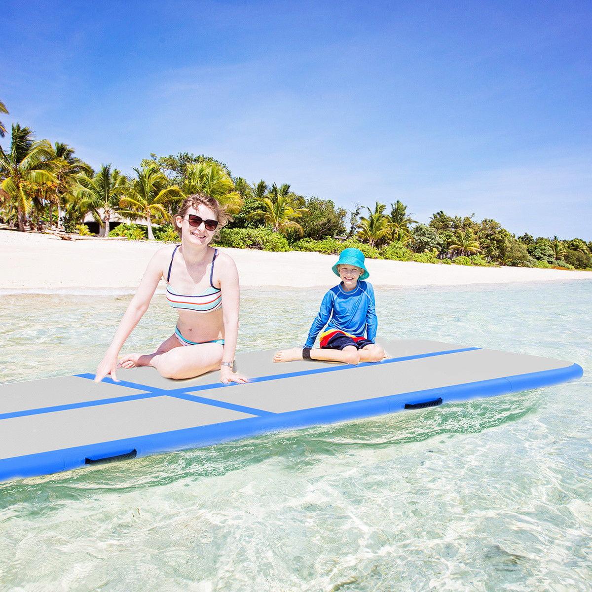 Goplus 10' Inflatable Gymnastics Mat Air Track Floor Mats Water Buoyancy with Pump Blue