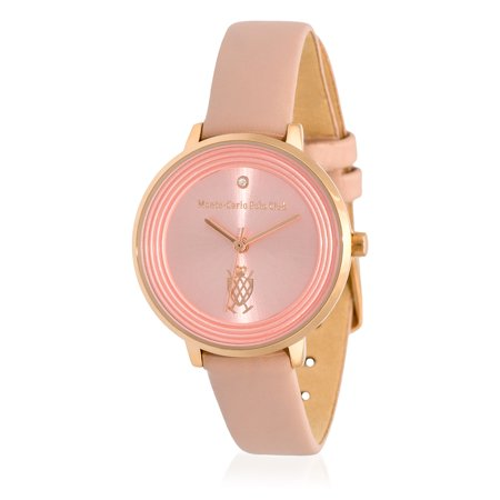 Monte-Carlo Polo Club Mens Classic Quartz Watch with Light Pink Dial and Ivory Leather Strap