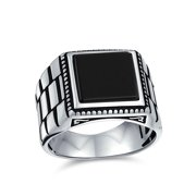 Retro Watch Band Style Etched Band Black Onyx Square Signet Ring for Men Heavy 925 Sterling Silver Handmade In Turkey
