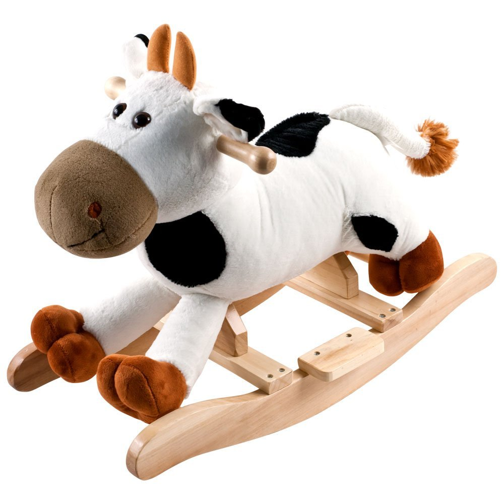 Plush Rocking Connie Cow With Sounds - White/Brown, Mooing sounds By Happy Trails