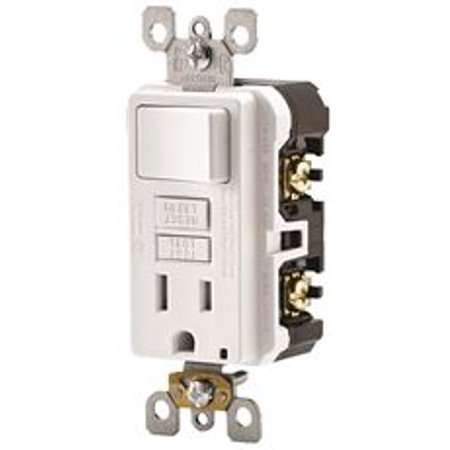 Gfi Rocker Outlet (Leviton Smartlockpro 2-Pole Tamper-Resistant Combo Gfci Receptacle / Rocker Switch, White, 125 Volts, 15 Amps )