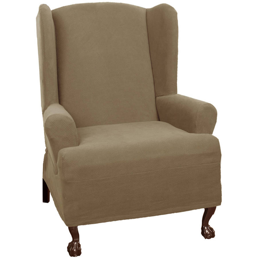 maytex stretch pixel 1piece wing chair slipcover