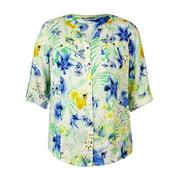 JM Collection Women's Tropical Print Linen Buttoned Shirt
