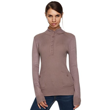 Ribbed Sweaters (ANGVNS Stylish Women Stand Collar Long Sleeve Button Ribbed Slim Knitting Coat Top Sweater)