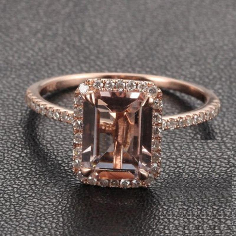 Limited Time Sale: 1.50 Carat Peach Pink Morganite (emerald cut Morganite) and Diamond Engagement Ring in 10k Rose Gold by JeenJewels