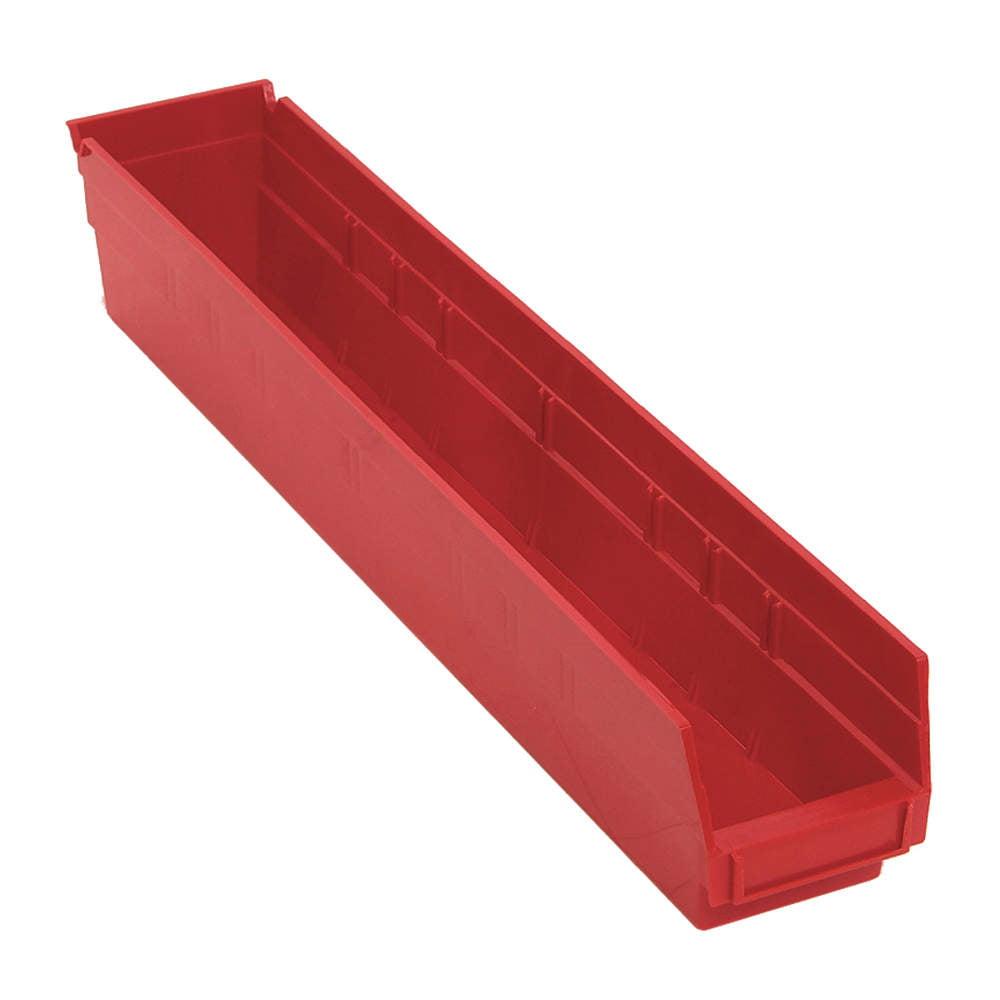 "Shelf Bin,  Red,  4""H x 23-5/8""L x 4-1/8""W,  1EA"