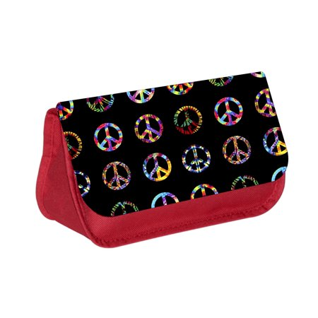 Tie Dye Bags (Tie Dye Symbols - Red Cosmetic Case - Makeup Bag - with 2 Zippered)