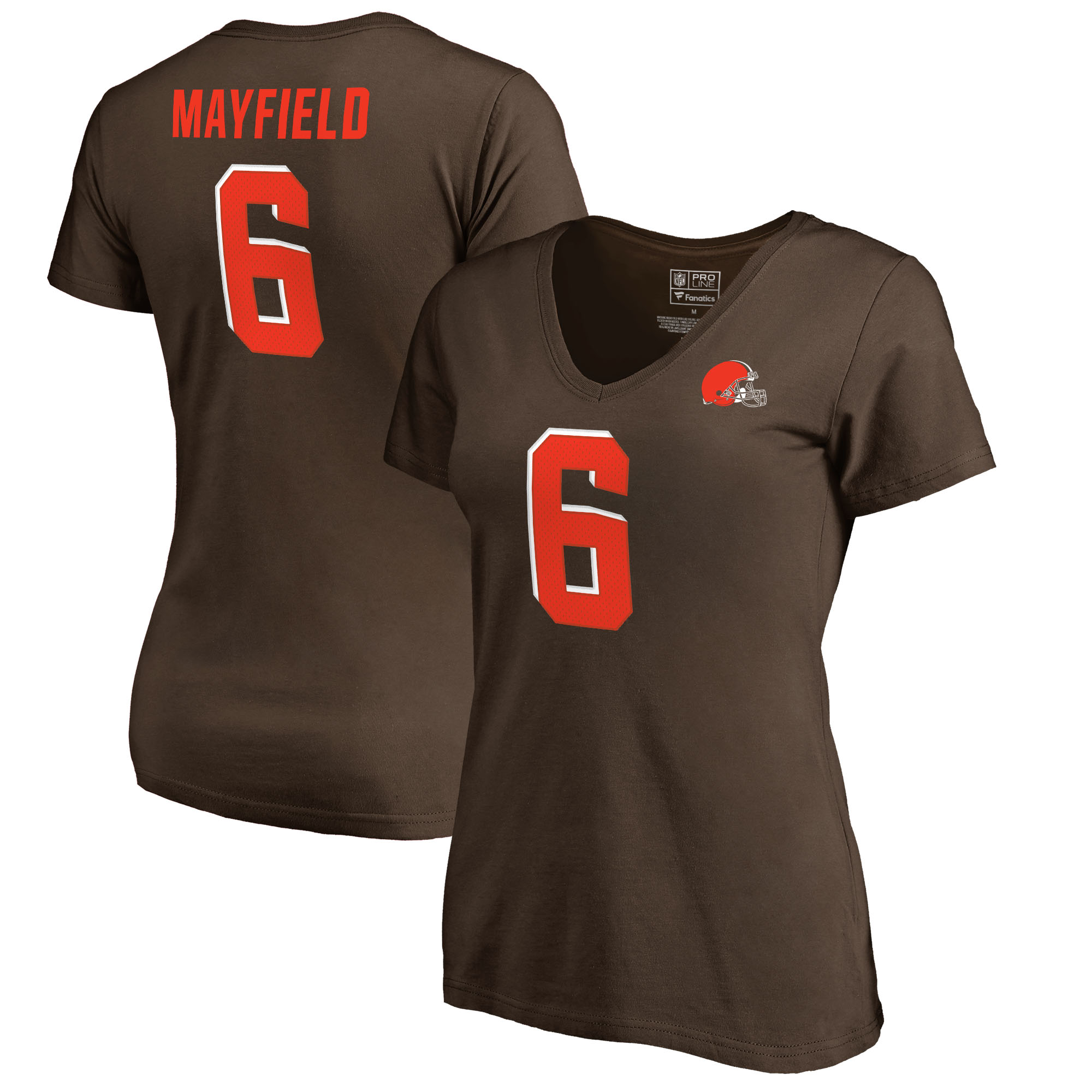 Baker Mayfield Cleveland Browns NFL Pro Line by Fanatics Branded Women's Authentic Stack Name & Number T-Shirt - Brown