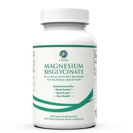 Magnesium Bisglycinate | Reduce Muscle Cramps & Improve Sleep | Maximum Absorption with no Laxative Effects | 100% Chelated with TRAACS | 200 mg of Pure Magnesium Per Vegetarian Capsule by 1 (Best Magnesium For Muscle Cramps)