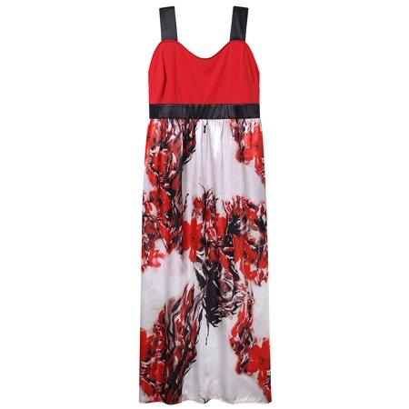 LeadingStar - Women\'s Sleeveless Floral Printed Beach Boho Maxi ...