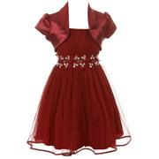 Toddler Girls Beautiful 2 Pieces Bolero Dress Rhinestones Shiny Holiday Flower Girl Dress Rose 2 (2J1K4S4)