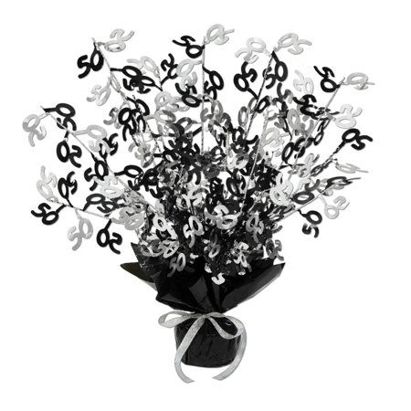 Club Pack of 12 ''50'' Black, and Silver Gleam 'N Burst Centerpieces 15''