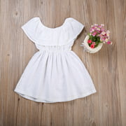 Toddler Kids Baby Girl Hollow Ruffle Off Shoulder Lace Mini Dress White Summer