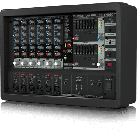 Behringer EUROPOWER PMP560M 500-Watt 6-Channel Powered Mixer w/ KLARK TEKNIK Multi-FX Processor, Compressors, FBQ Feedback Detection System & Wireless Option Behringer Pro Dj Mixer