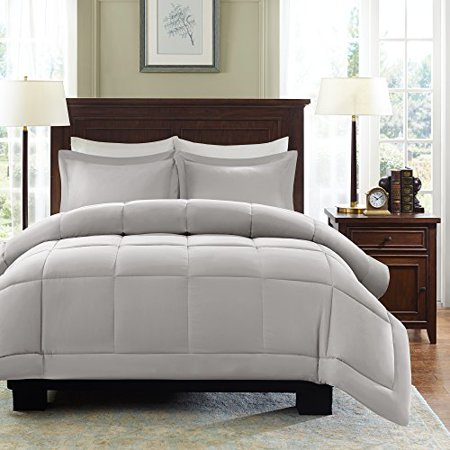 Madison Park Sarasota All Season Microcell Down Alternative Box Quilted Comforter Mini Set, King/Cal King, Grey - image 1 of 4