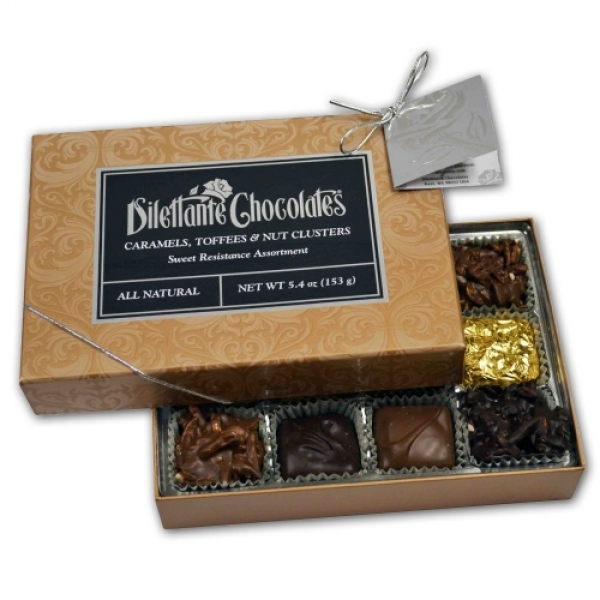 Sweet Resistance Gift Box 12 Piece Caramels And Nut Clusters by