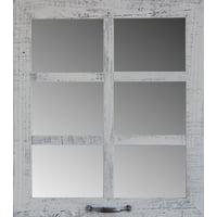 "Allbarnwood 20"" X 22.5"" 6-Pane Window Mirror Poppy Red"