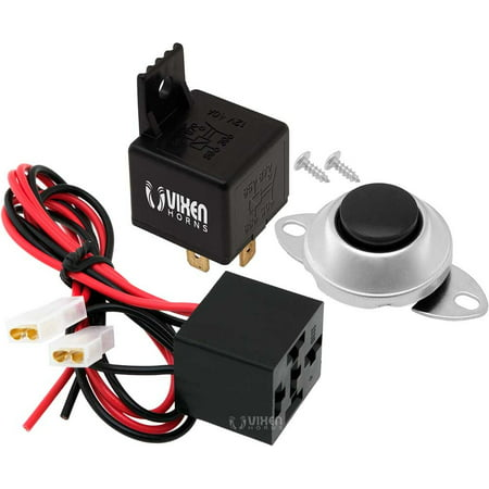 Vixen Horns 4-PIN Relay 40A/12V with Pre-wired Plug/Socket and Momentary Horn Button/Switch -