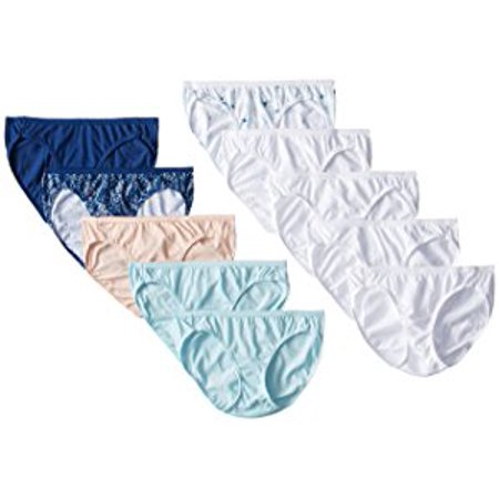 Hanes 10pk Women's Cotton Bikini Underwear Panties - Colors May Vary 9