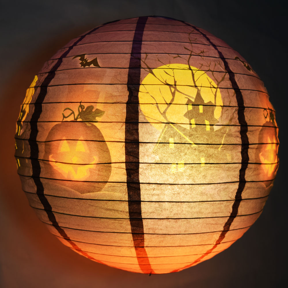 "Quasimoon 12""  Haunted House Halloween Paper Lantern by PaperLanternStore"